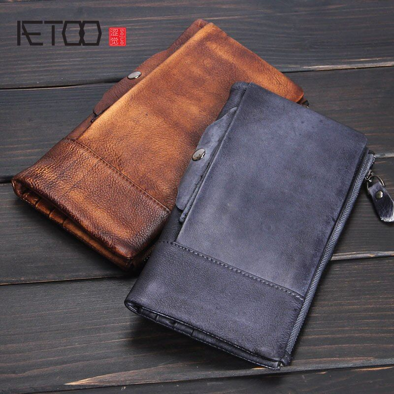 AETOO Men's leather retro wallet long paragraph handmade multi-card bit first layer of leather ladies hand bag soft leather