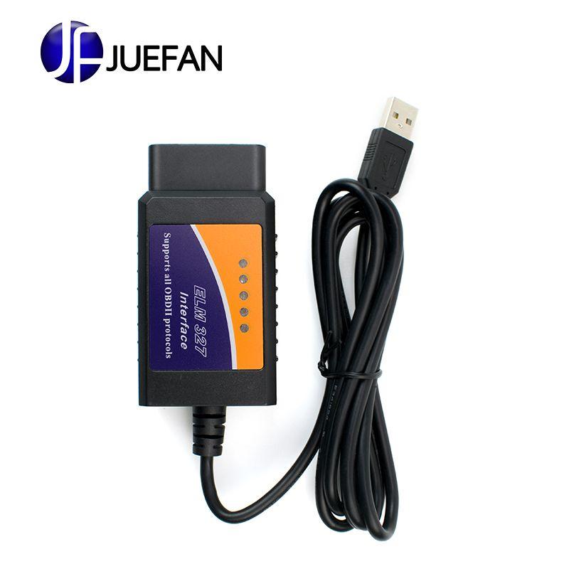 Haute qualité ELM327 USB plastique OBD2 outil de Diagnostic automatique Version V1.5 ELM 327 USB Interface OBDII CAN-BUS Scanner livraison gratuite