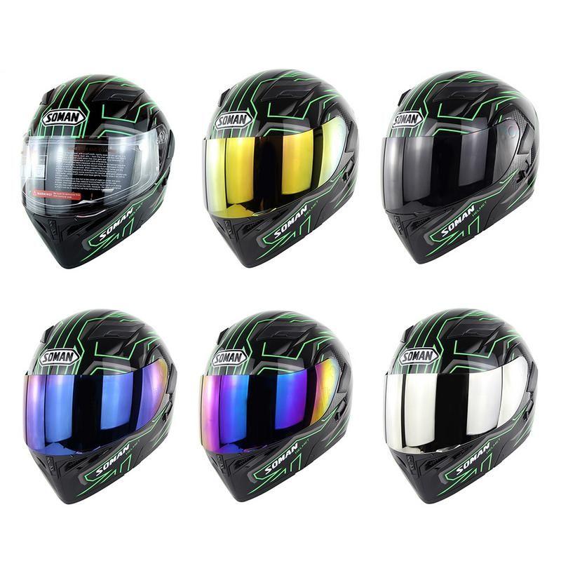 Neuheiten Grüne Blitz Doppel Objektiv Motorrad Helm mit Inneren Sonnenblende Volle Gesicht Elektrische Fahrzeug Motorrad Helm