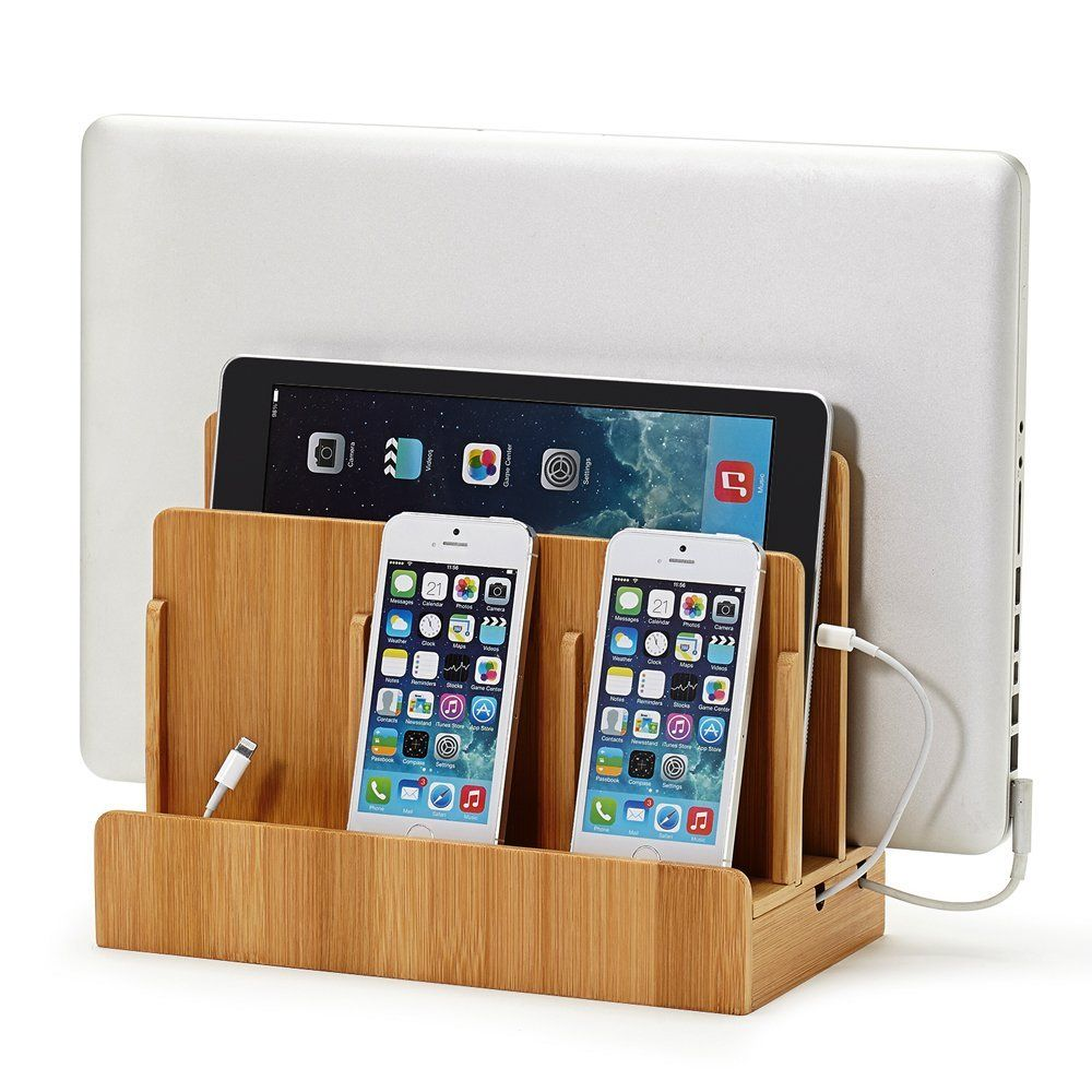 Multi-Device Charging Station Dock & Organizer,Multiple Finishes Available. For Laptops, Tablets, and Phones