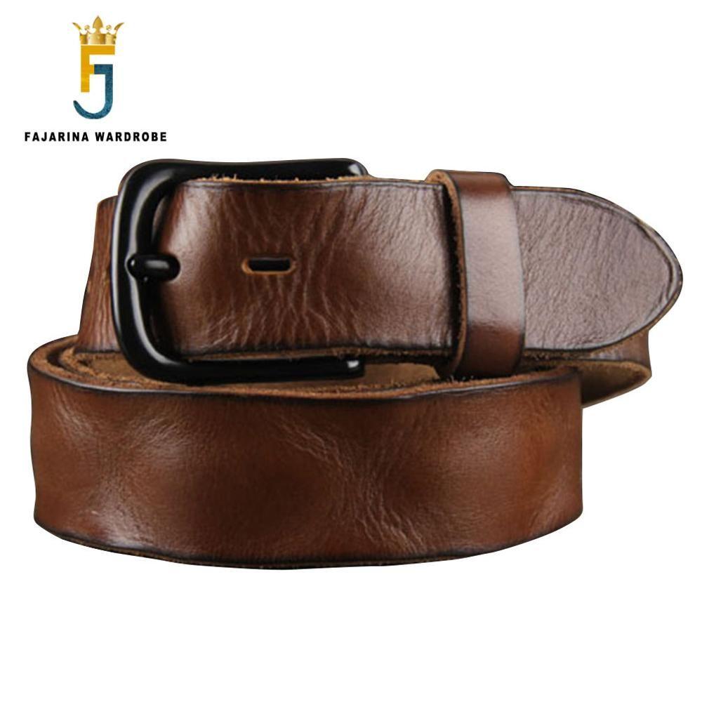 FAJARINA Top Quality Men's Retro 38mm Width Belt Fashion Genuine Leather Men Black Clasp Buckle Belts for Men Styles N17FJ096