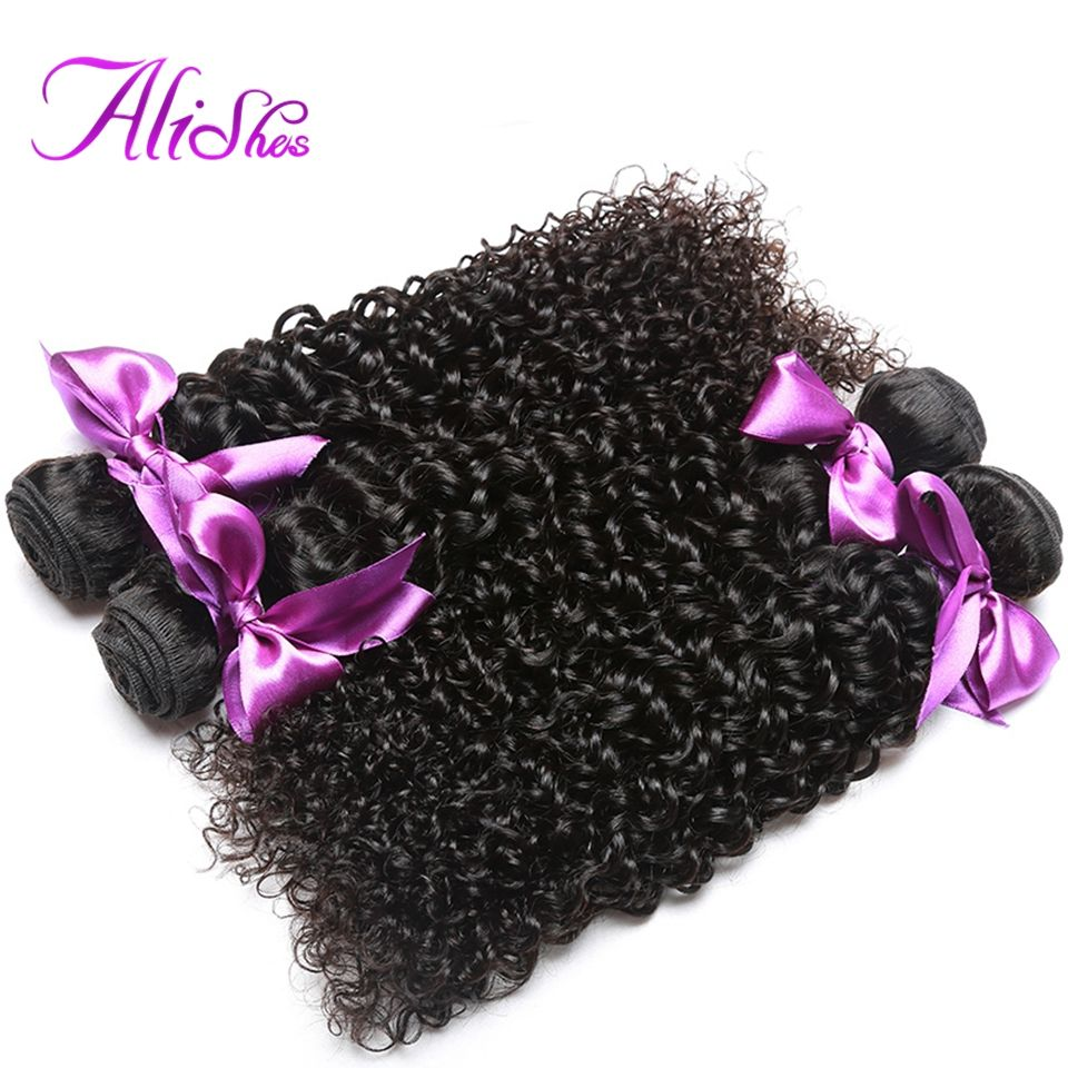 Alishes Hair Malaysian Curly Hair Weave 100% Human Hair Bundles Natural Color Non-Remy Hair 8-28 inch Free Shipping Can Buy 3PCS