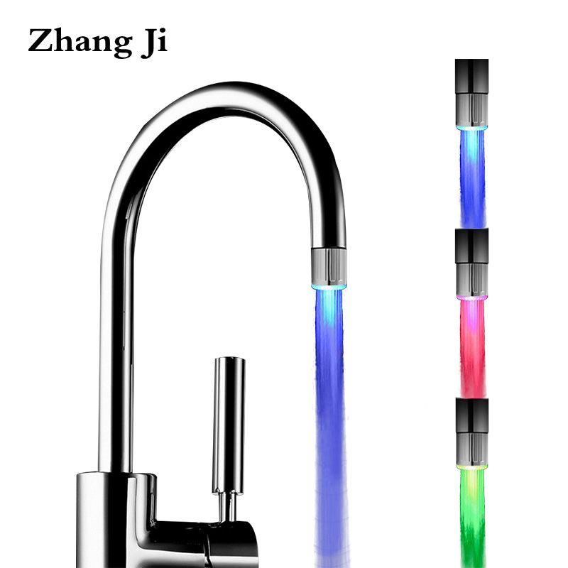 Zhangji LED Küche Bad Wasser Sparende Wasserhahn Belüfter Hohe Qualität Dusche Kopf Freies Verschiffen Bunte Licht Ändern Belüfter