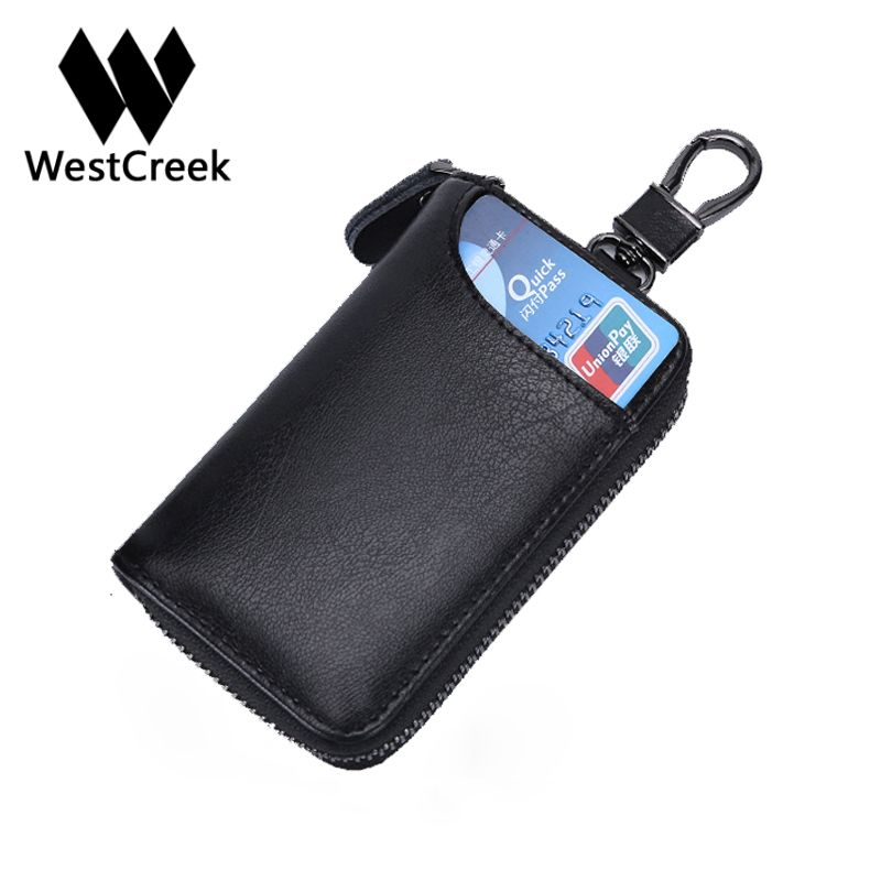Westcreek Brand Men Leather Car Key Wallets Key Organizer Women Fashion Waist Hanging Key Holder Credit Card Holder 6 Key Rings
