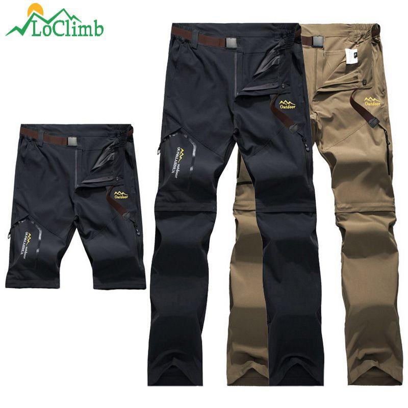 LoClimb pantalons de randonnée en plein air hommes/femmes Stretch séchage rapide pantalon imperméable homme escalade/pêche/Trekking pantalon AM051