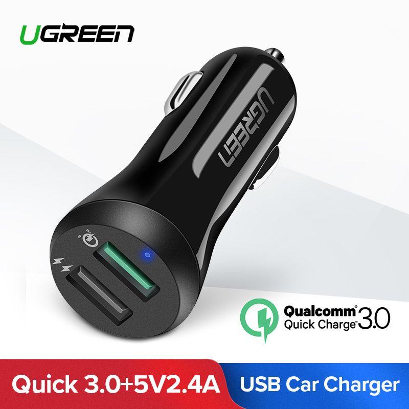 Ugreen автомобиль USB Зарядное устройство Quick Charge 3,0 Мобильный телефон Зарядное устройство Dual USB быстрой QC 3,0 Автомобиля Зарядное устройство для ...