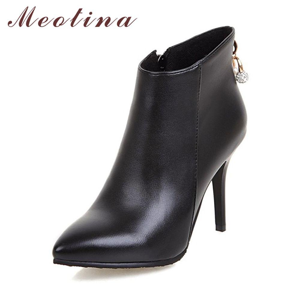 Meotina Femmes Bottes Cheville Bottes pour Femmes 2018 Hiver Haute Talons Bottes Courtes Strass Dames Chaussures Zip Rouge Blanc Taille 44 45 11