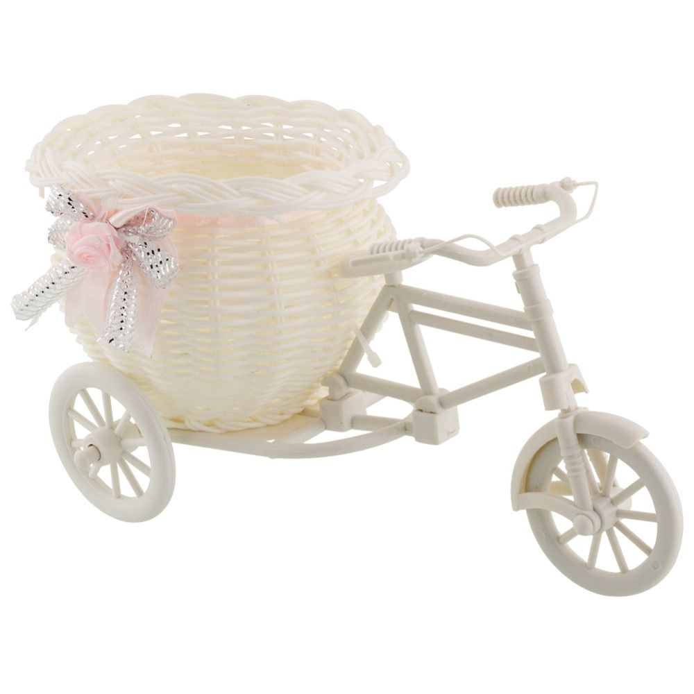 Flower Plastic White Tricycle Bike Design Flower Basket Container For Flower Plant Home Weddding Decoration Vase 23*12.5*9cm