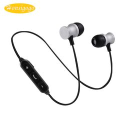 Honsigogo Bluetooth Metal Magnet Suction Earphone Voice Prompt Wireless Sport Stereo Earphone with Mic for iphone samsung