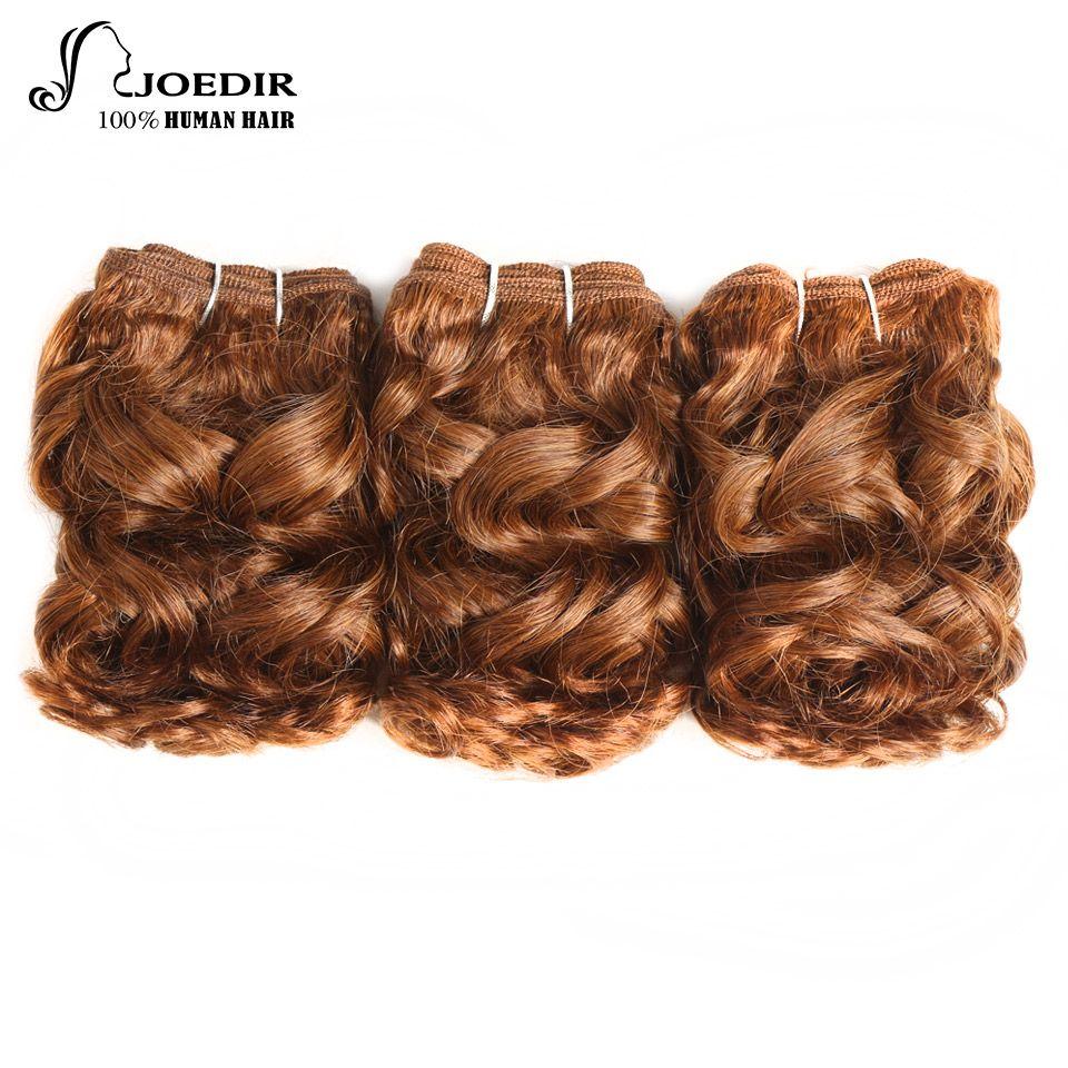 Joedir Hair Bundles Brazilian Human Hair Spiral Curl 3 Bundles 100g 1 Pack Pre-Colored 6 inch Blonde Human Hair Weave