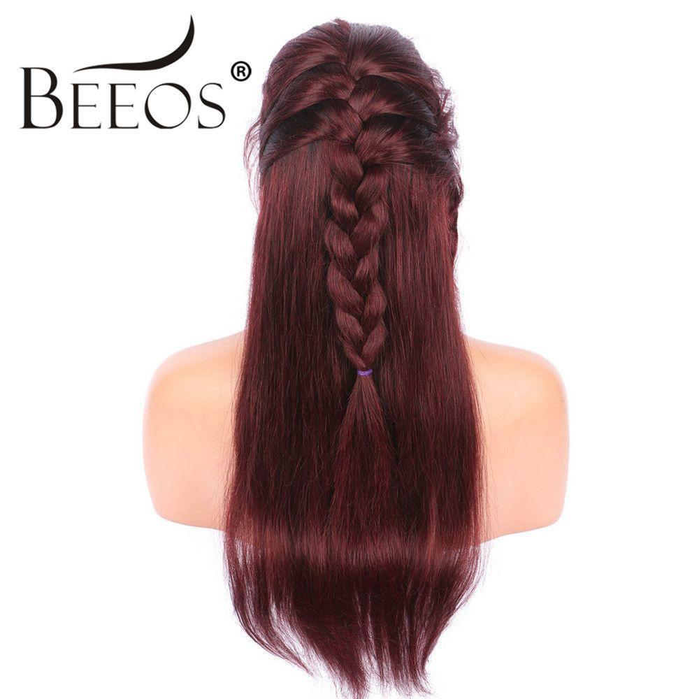 Beeos 150% Freies Teil Ombre Rot Gerade Perücken Volle Spitze Menschliches Haar Perücken Malaysia Remy Haar Vor Gezupft Haaransatz Gebleichte knoten