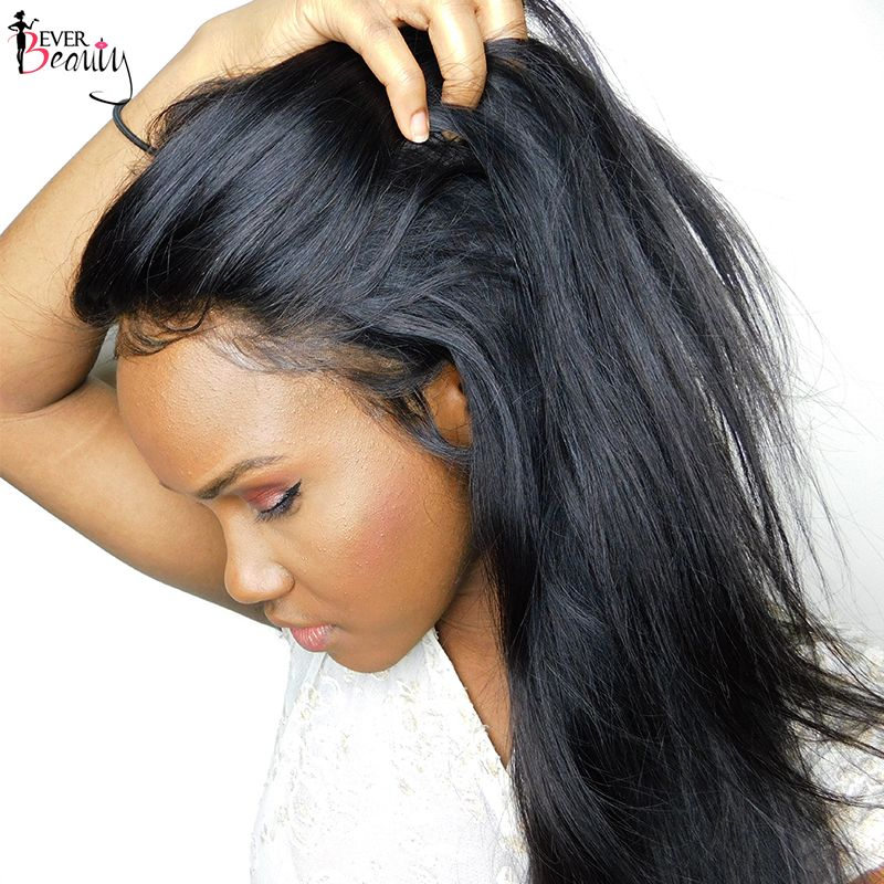 360 Lace Frontal Closure Pre Plucked With Baby Hair Brazilian Remy Human Hair Silky Straight Natural Black 14-22inch Ever Beauty