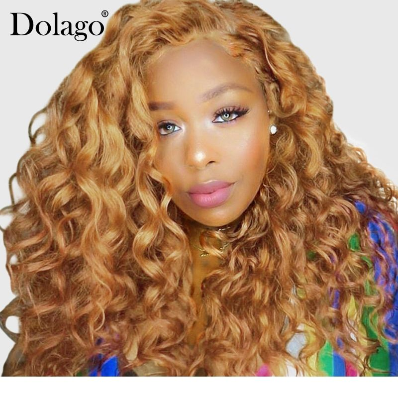Blonde Lace Front Human Hair Wigs For Women Colorful 250% Density Loose Wave Wig 27# Brazilian Hair Remy Honey Black Dolago 13x4