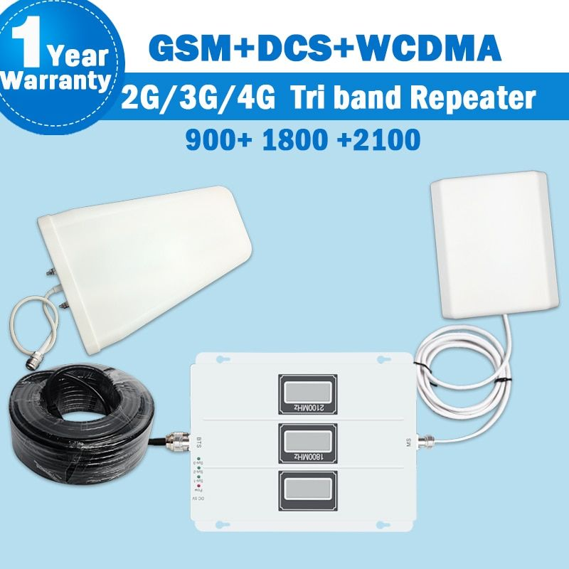 2018 Tri Band Repeater 2G GSM 900 4G DCS/LTE 1800 3G WCDMA/UMTS 2100MHz Amplifier Mobile Cellular Signal Antenna Set Booster S46