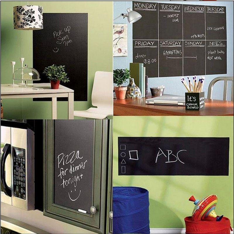 1 pc Tableau Tableau Noir Autocollant D'école Bureau Réunion Tableau noir Autocollant Amovible Vinyle Stickers Muraux Pour Jeu D'enfant Jouet
