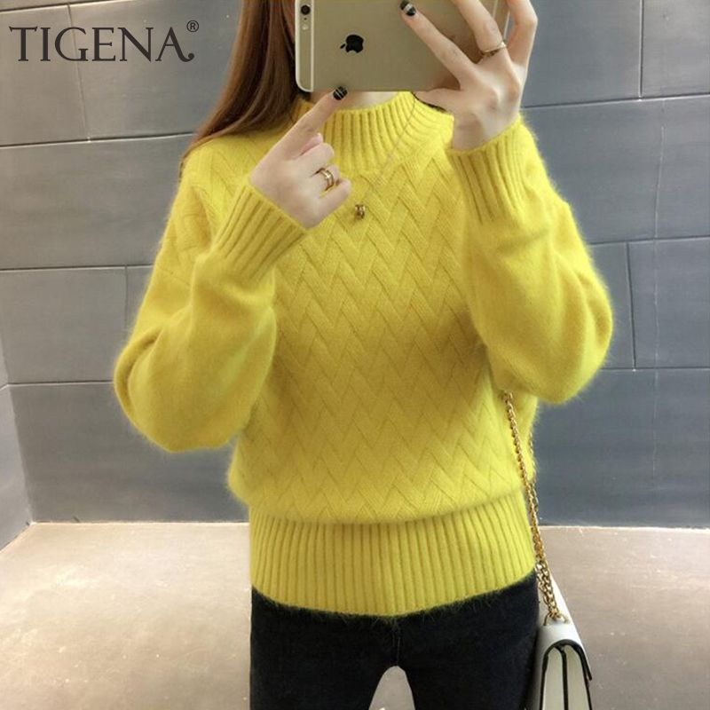TIGENA Thick Warm Turtleneck Sweater Female 2018 Winter Long Sleeve Jumper Women Sweaters And Pullovers Pull Femme White Yellow