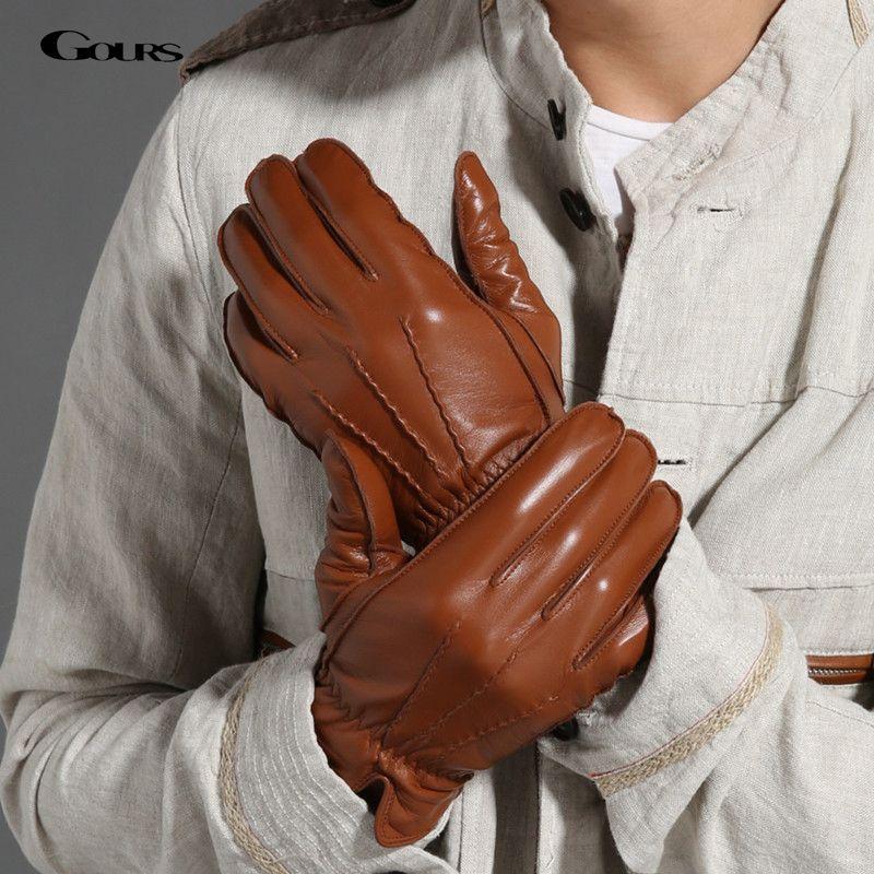 Gours 2017 neue herren winter echtem leder handschuhe fashion brand schwarz warme handschuhe klassische ziegenleder handschuhe luvas guantes gsm009