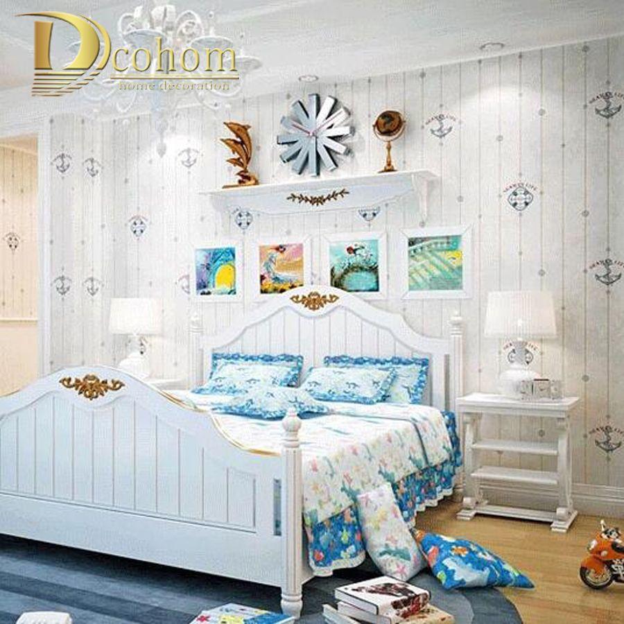 Mittelmeer Cartoon Holz Gestreiften Kinder Zimmer Tapete Für Wände Mädchen Jungen Schlafzimmer Decor Einfache Kinder Wand papier Rollen