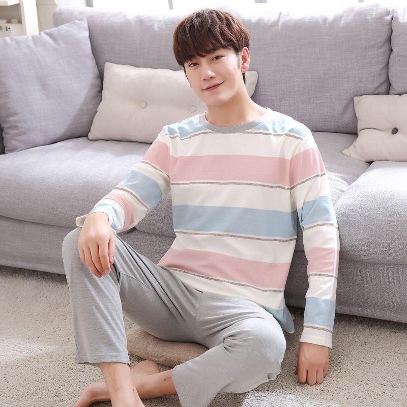 CR Primavera Otoño de Los Hombres Pijamas Set Pijama Para Los Hombres Sleepshirts Par de Rayas de Algodón de Manga Larga Del O-cuello ropa de Dormir Homewear