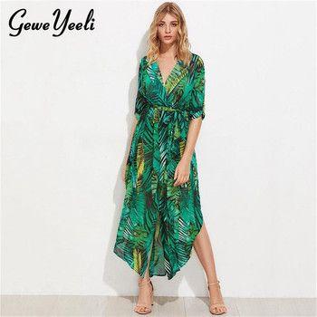 Chiffon Long Sleeve Dress Green Tropical Print Vintage Maxi Dresses Boho Casual V Neck Belt Lace Up Tunic Draped Plus Size Dress