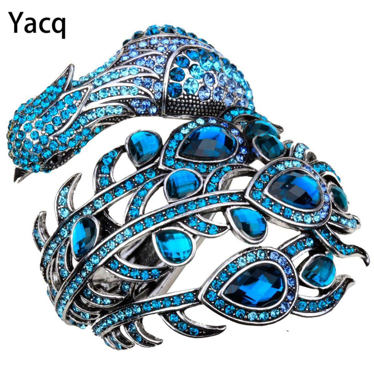 YACQ Peacock Bracelet Women <font><b>Crystal</b></font> Bangle Cuff Punk Rock Fashion Jewelry Gifts for Girlfriend Wife Her Mom A29 Dropshipping