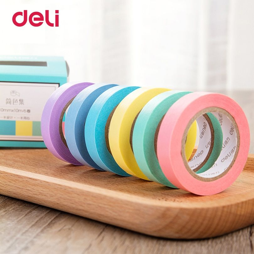 Deli 6 PCS a set 6 Color office Adhesive Tape solid Paper washi Scrapbooking Sticker Label Masking Tape Office School Supplies