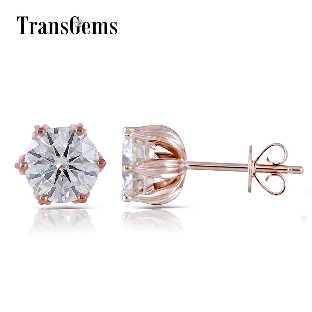 14K Rose Gold 2CTW 6.5mm GH Color Clear Round Brilliant Moissanite Stud Earring Push Back for Women Lotus Flower Shaped