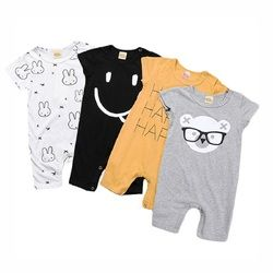 Baby Rompers Summer Style Powered Baby Boy Girl Clothing Newborn Infant Rabbit Short Sleeve Clothes Bebe De RoupaBBR129