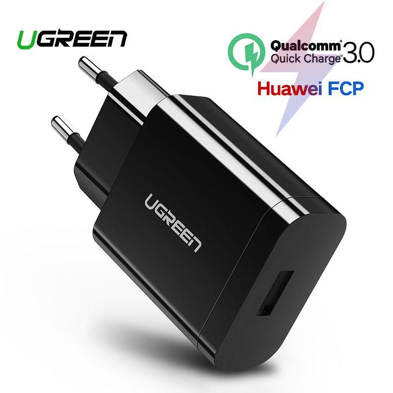 Ugreen chargeur USB 18 W Charge rapide 3.0 chargeur de téléphone portable pour iPhone rapide QC 3.0 chargeur pour Huawei Samsung Galaxy S9 + S10