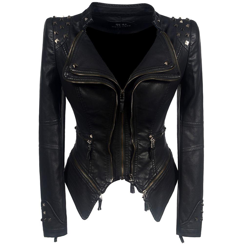 2019 manteau chaud femmes hiver automne noir mode moto veste d'extérieur faux cuir veste en cuir synthétique polyuréthane gothique faux cuir manteaux