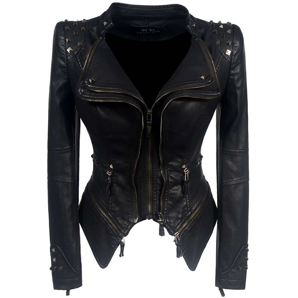 2019 Coat HOT Women Winter Autumn Black Fashion Motorcycle Jacket Outerwear faux leather PU Jacket Gothic faux leather coats