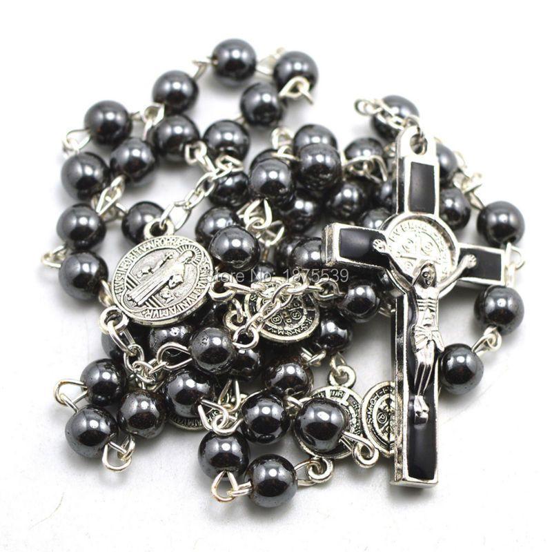 Moda grano del hematites rosario católico, conectores de San Benito, pieza central, y crucifijo cruz
