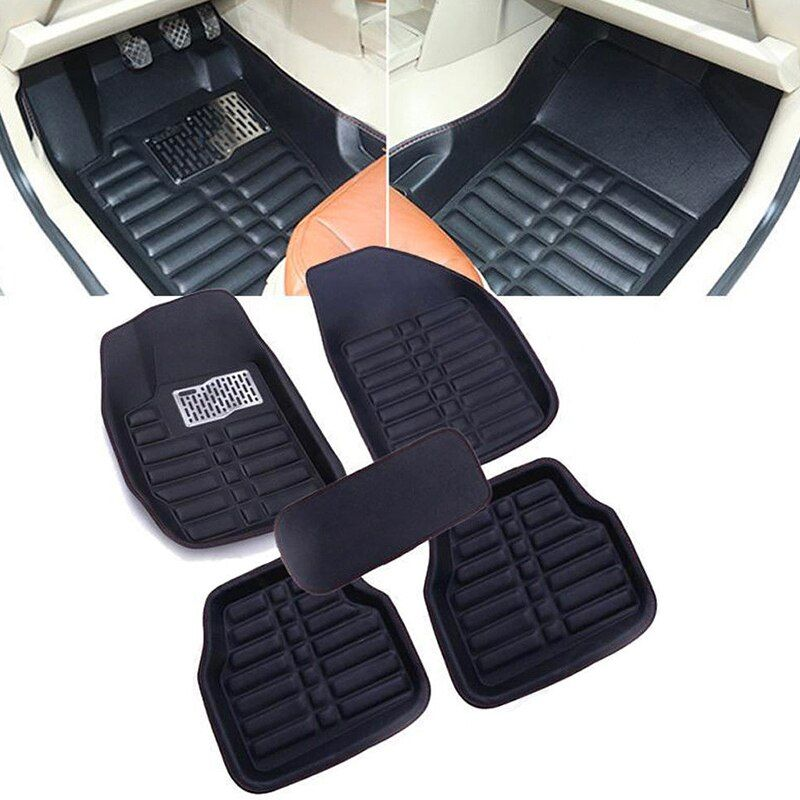 5pc/set Universal Car Floor Mats FloorLiner Front & Rear Carpet All Weather Mat Skidproof Black Car Styling