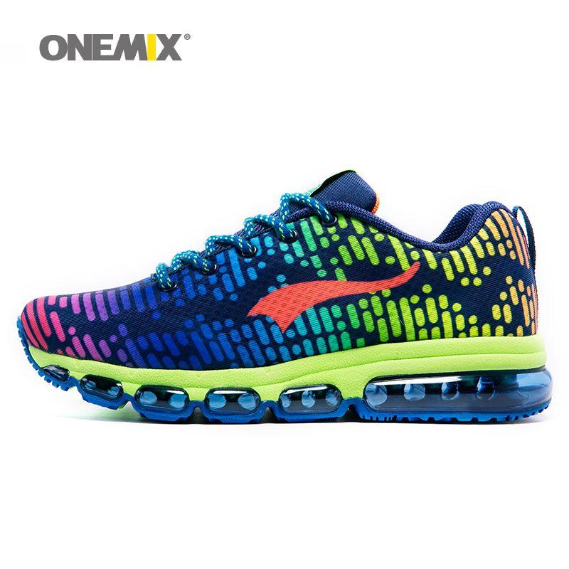 Onemix мужские спортивные туфли женские Бег воздухопроницаемой сеткой мужской открытый кроссовки на шнуровке Zapatos de Hombre обувь для взрослых ев...