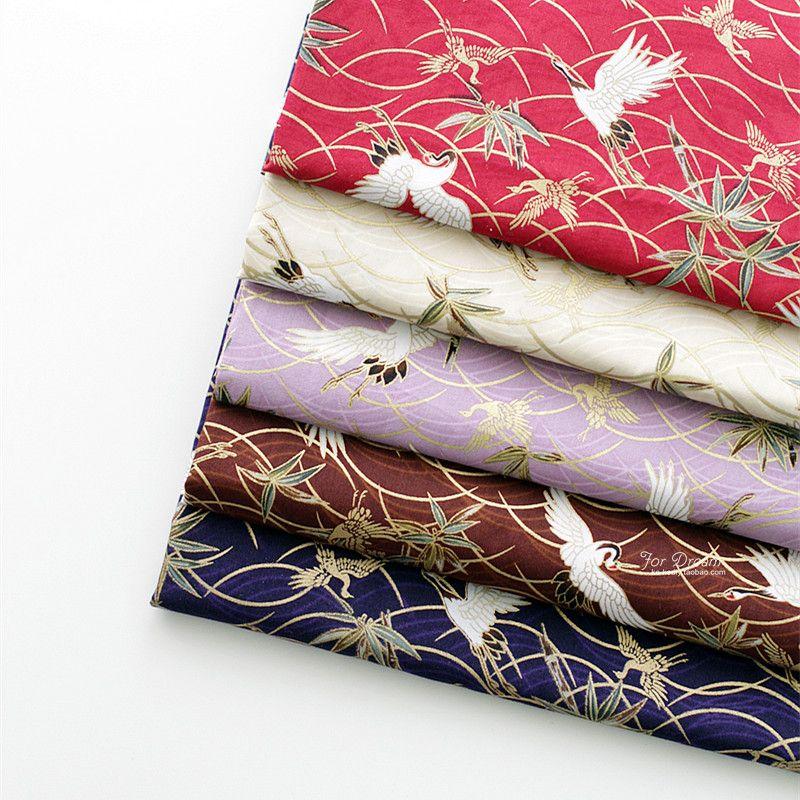 Tissu de coton de bricolage de Style japonais pour la nappe de décoration intérieure et couvre le beau tissu de Kimono d'impressions de grue bronzée