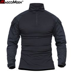 MAGCOMSEN Men Summer Army Combat Tactical T Shirt Military Camouflage Long Sleeve T-Shirts Man Clothes Airsoft Paintball No Pads