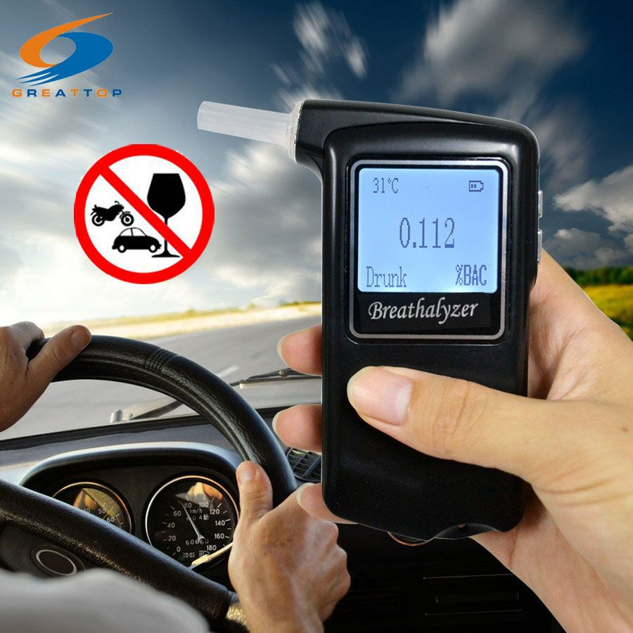 Factory Outlets +10 mouthpiece Prefessional Digital LCD Alcohol Tester Alcohol Breath Analyzer Police Digital Breathalyzer
