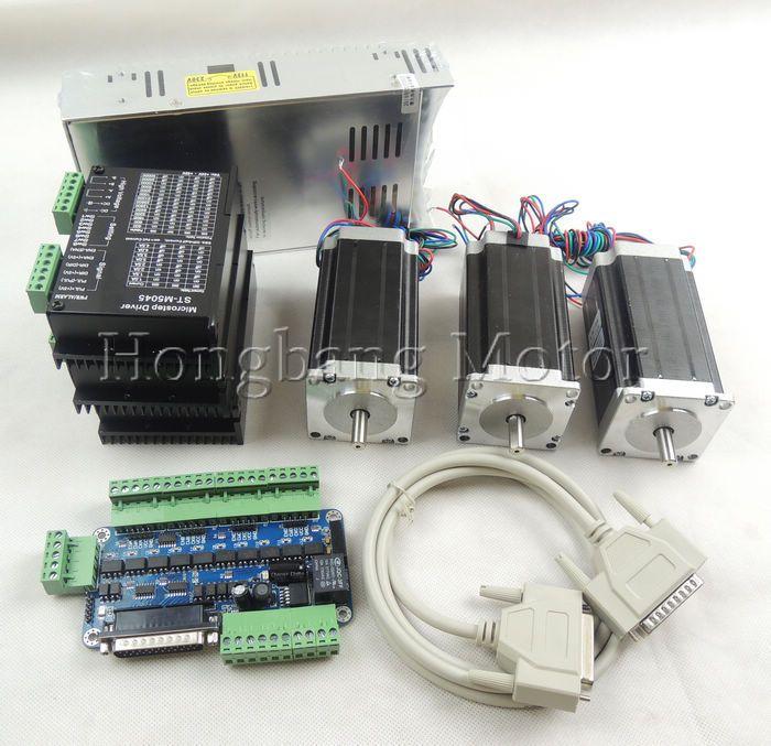 CNC Router Kit 3 Achsen kit 3-ACHSEN-KIT ST-M5045 (ersetzen 2M542) fahrer + 5 achse breakout board + Nema23 425 Unzen-in motor + 350 Watt stromversorgung