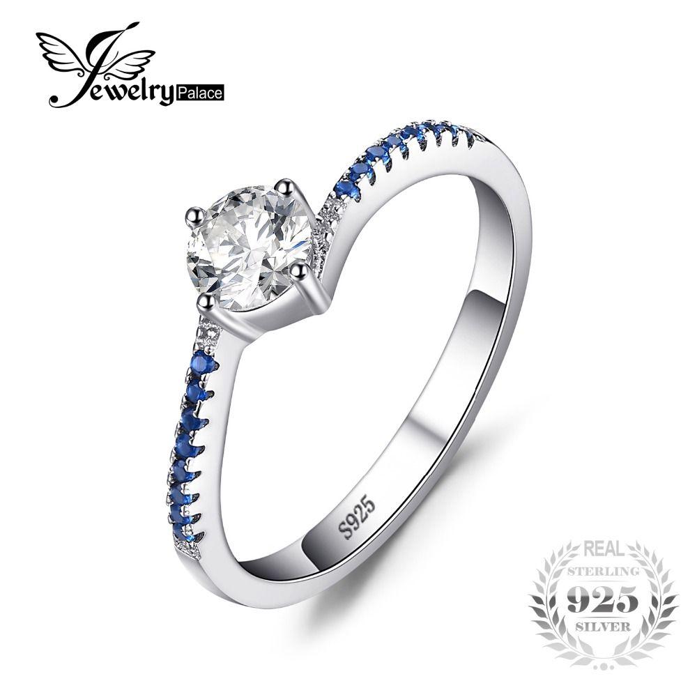 JewelryPalace Ronda Creado Azul Zafiro Nano Aniversario 0.7ct Anillo de Promesa de Compromiso Real 925 Anillo de Plata Esterlina