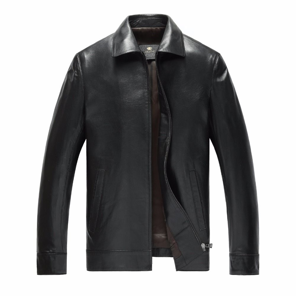 2018 new genuine leather men 's single leather lapel business sheep leather men' s leather jacket