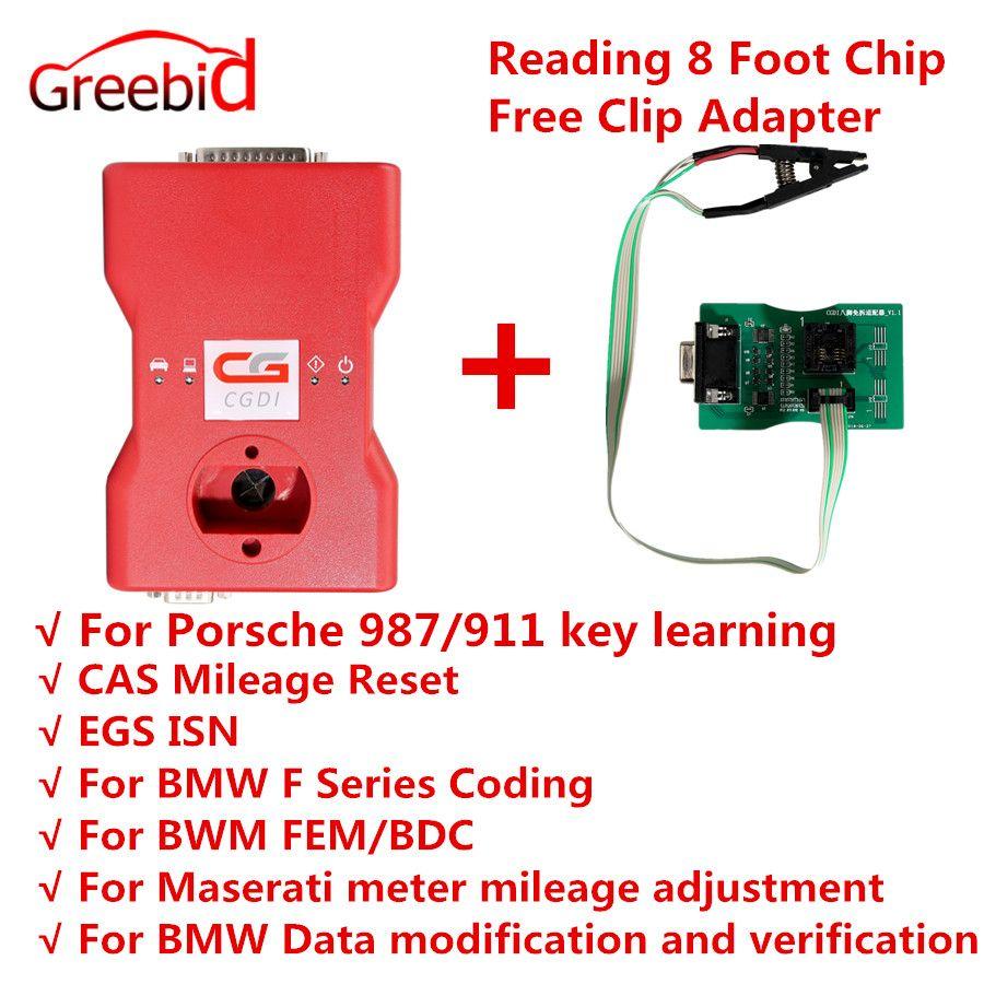 CGDI Prog für BMW MSV80 Auto Schlüssel Programmierer + Diagnose Werkzeug + IMMO Sicherheit 3 in 1 Erhalten Freies Lesen 8 fuß Chip Kostenloser Clip Adapter