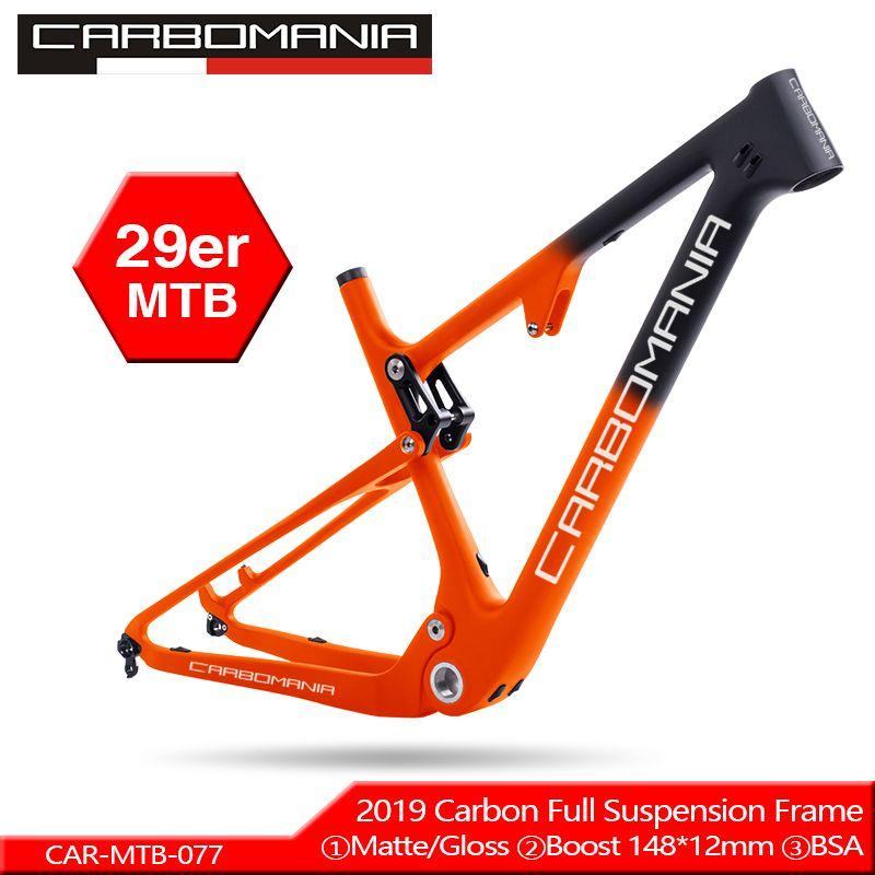 Volle Carbon-Suspension bike Rahmen 29er MTB Steckachse 12mm Carbon Faser Suspension BMX mountain bikes Downhill fahrrad rahmen 2019