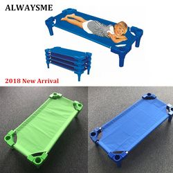 ALWAYSME Aluminum Alloy Frame Baby Kids Children Bed Crib Streamline Toddler Cot Daycare Sleeping Cot for Kids Kindergarten Bed