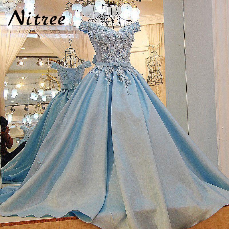 Stunning Sky Blue Long Formal Evening Dress Corset Off the Shoulder Elegant Engagement Prom Dresses with Flowers vestido longo