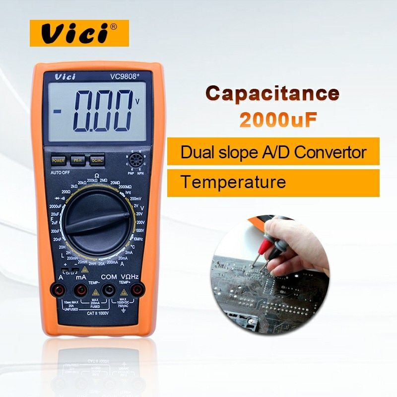 Digital Multimeter VC9808+ 3 1/2 with DCV ACV DCA ACA Resistance Inductance Capacitance Frequency Measurement Large LCD Display
