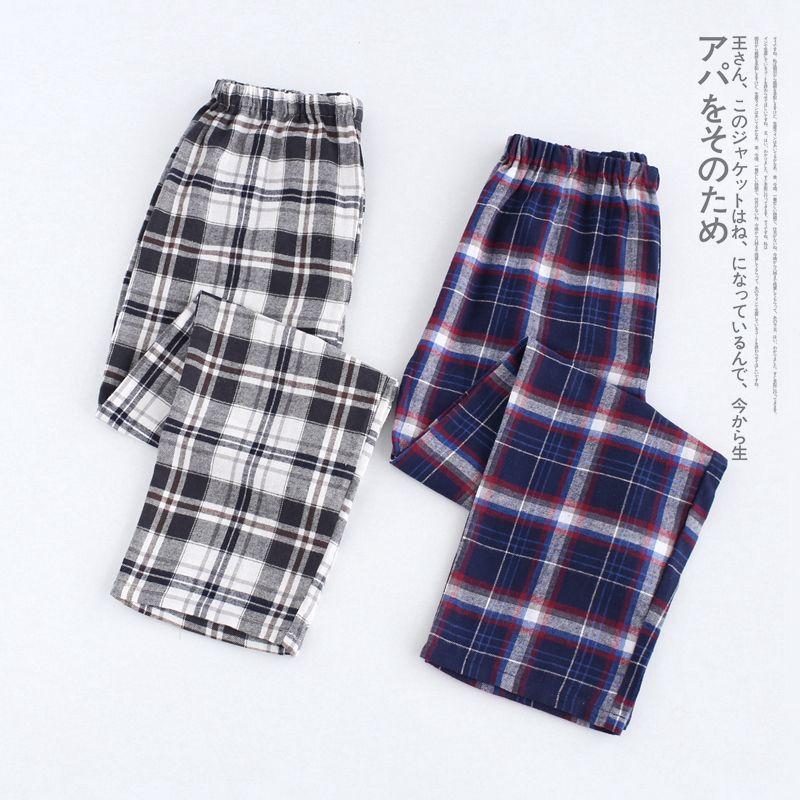 Plus size 100% brushed cotton lattice mens sleep bottoms comfort pajama simple sleepwear pants pijamas male sheer pyjama trouser