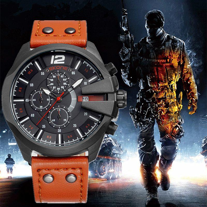 SKONE Men's Chronograph stopwatch Sport Quartz Watch Man Army Military Leather Wrist watches Relogio Masculino Men Watches 2016