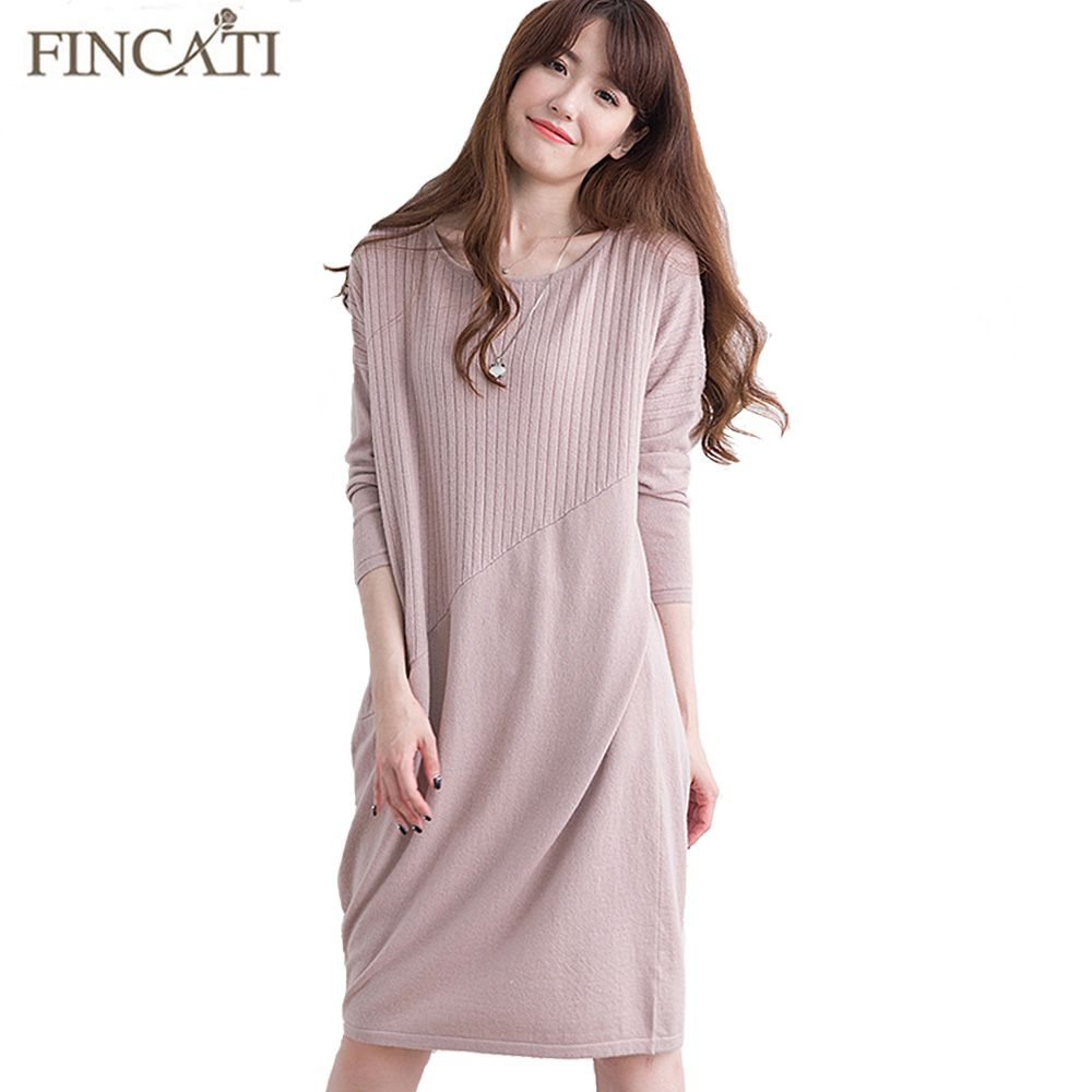 Women Sweater Winter Spring 2017 High-End 100% Pure Natural Cashmere Knitted Long Loose Casual Sweater Dress Woman Vestidos