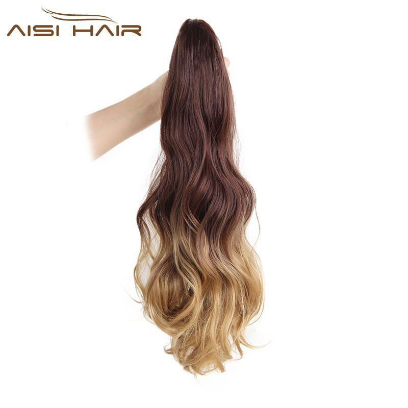 Je de une perruque 19 pouces Longue Queue de Cheval Clip dans Poney queue Cheveux Extensions Griffe sur le morceau De Cheveux Ondulés Ombre Synthétique Fiber
