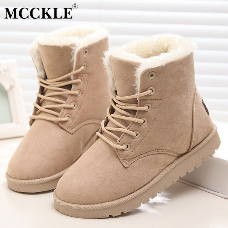 MCCKLE Woman Winter Ankle Snow Boots Classic Warm Plush Fur Suede Insole High Quality Lace Up Shoes Female Botas Plus Size 34-42